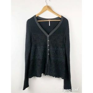 Free People Black Lace panel Cardigan size XS